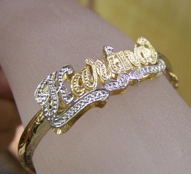 14k Gp Baby Name Bangle Bracelet Personalized