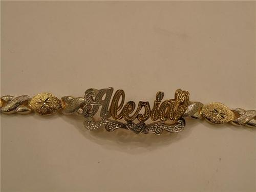 Personalized Gold Overlay Double Name Bracelet Nameplate S