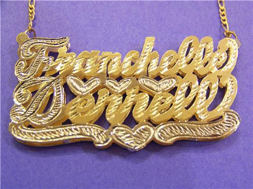 Gp Two Double Nameplate Name Necklace Personalized Hip