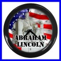 Wall Clock ABRAHAM LINCOLN Statue President U.S. Flag (11776707)