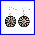 Button Dangle Earrings DART BOARD Sports Game Bar Pub WDF Fun (12140819)