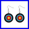 Button Dangle Earrings ARCHERY Target Olympic Sports Games Arrow (12140820)