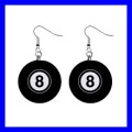 Button Dangle Earrings 8 BALL Pool Eight Game Billiard Snooker (12140835)