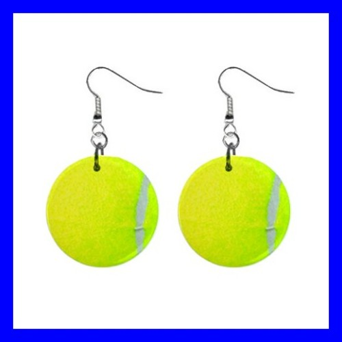 Button Dangle Earrings TENNIS Ball Sports Grand Slam Olympics (12141676)