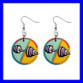 Button Dangle Earrings DUMBBELL Barbell Weight Lifting Sports GYM (12141678)