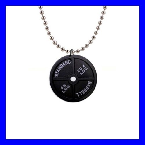 Button Necklace Pendant DUMBBELL Barbell Weight Plate Sports GYM (12971853)