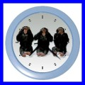 Color Wall Clock 3 MONKEYS See Hear Speak Zoo Animals Weird Fun (27200087)