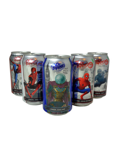 Dr Pepper Spiderman 5 can Collector Set