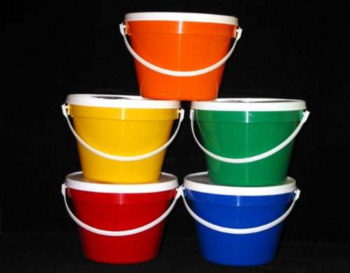 128 Oz Red Green Blue Yellow Orange Buckets 5 Jpg