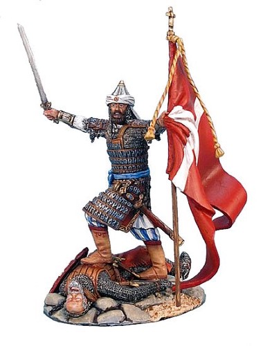 First Legion CRU026: Mamluk Leader with Captured Flag Standing on Fallen Crusader