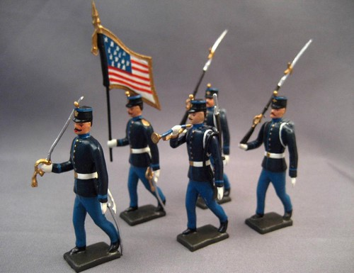 Mignot 054: U.S. Infantry 1880 with Shakos Color Party: O, F, B + 2 rifles - page 88 INF5