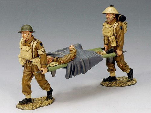 King and Country FOB041: 2 Man British Stretcher Party Carrying a Wounded Tommy - RETIRED