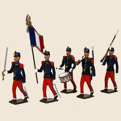 Mignot 066: St. Cyriens (Fr. Mil. Acad.), navy/red 1908: O, F, D, B + 8 rifles p.73 INF12