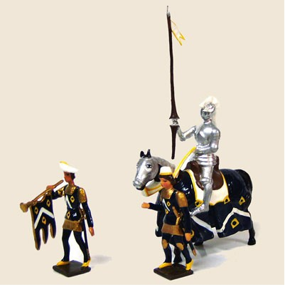 Mignot 1208: Sir Thomas Chandler black/yellow with his page & trumpeter -boxed