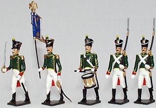 Mignot 031B: Flankers of the Guard 1811; O, F, D, B + 8 rifles INF12