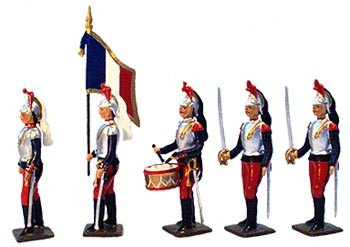 Mignot 063: Cuirassiers a pied 1914 blue/red, cuirass, helmet: O, F, T + 9 swords INF12
