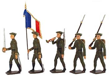 Mignot 072C: French Inf. de Fortress 1939oliveColour Party: O,F,B, + 2 Riflesp.126 INF5