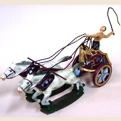 Mignot 0803 - Chariot of Caligula - with 4 horses and diorama box - DIO
