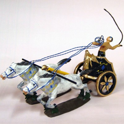 Mignot 0805 - Chariot of Pompei - with 4 horses and diorama box - DIO