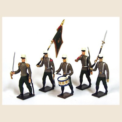 Mignot 067B: Foreign Legion, olive/brown with SOMBRERO Colour Party: O,F,B + 2 rifles INF5