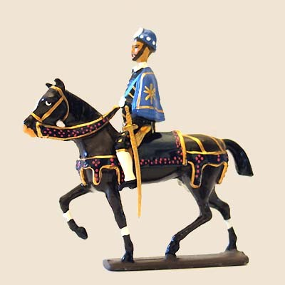 Mignot 632: King Henri III Mounted - boxed - wood base CAV1