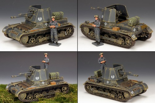 King and Country LAH149: Leibstandarte/Waffen SS Panzerjager Tank Set with Commander