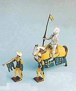Mignot 1205: Guy de Poitiers blue/yellow with his page & trumpeter -boxed