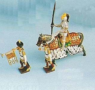 Mignot 1202: Duc de Bretagne white/red with his page & trumpeter -boxed
