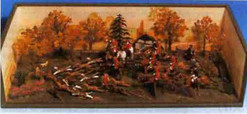 Mignot 8017: La Chasse a Courre -running -Stag Hunt - large diorama - page 202 -RARE DIO