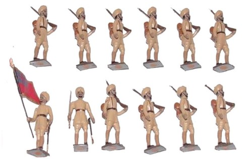 Mignot 093: Hindous 1914 khaki - turbans - Colour Party: O,F,B + 2 rifles - page 121 INF5