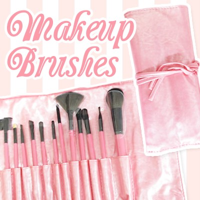 12 PCS Cosmetic Makeup brushes set Artificial Hair w/ Pink Girly Cute pouch