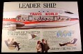 "Magazine Ad for TWA Trans World Airline, 1985, ""Leader Ship"", cut-away of a 747"