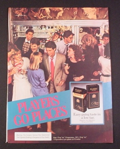 "Magazine Ad for Players Cigarettes, 1984, ""Players Go Places"", People in a Bar"
