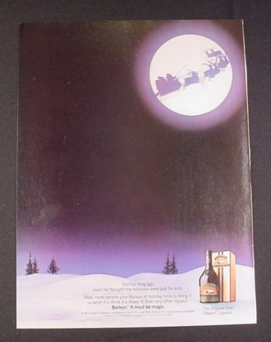 "Magazine Ad for Baileys, 1984, ""Santa & Reindeer in Moonlight"", Christmas"