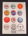 "Magazine Ad for Bacardi Rum, 1984, ""Bottle Caps from Various Soft Drinks"""