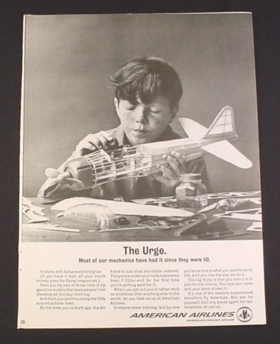 Magazine Ad for American Airlines, 1962, Boy with Model Airplane