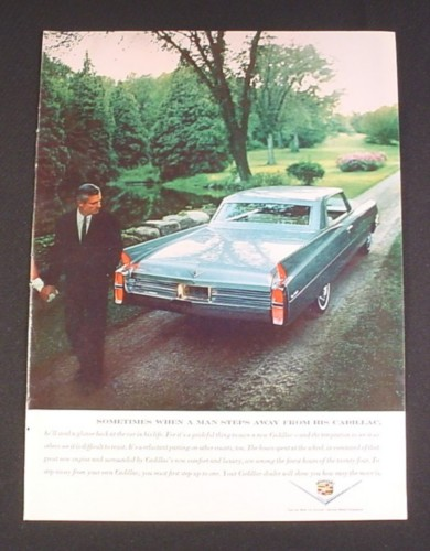 Magazine Ad for Cadillac Car, 1962, Rear View of Car
