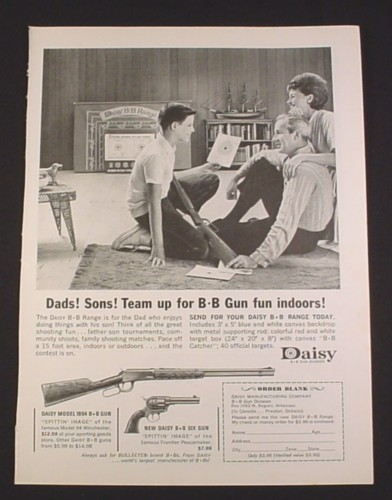 Magazine Ad for Daisy BB Guns, 1962, Model 1894 and BB Six Gun