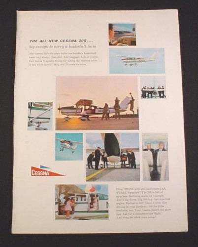 Magazine Ad for Cessna 205 Airplane, 1962, Six Place Cabin