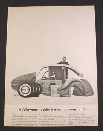 "Magazine Ad for Volkswagen Beetle, 1962, Bug Parts, ""Man of Many Parts"""