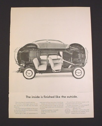 Magazine Ad for Volkswagen Beetle, 1962, Body Tilted Up