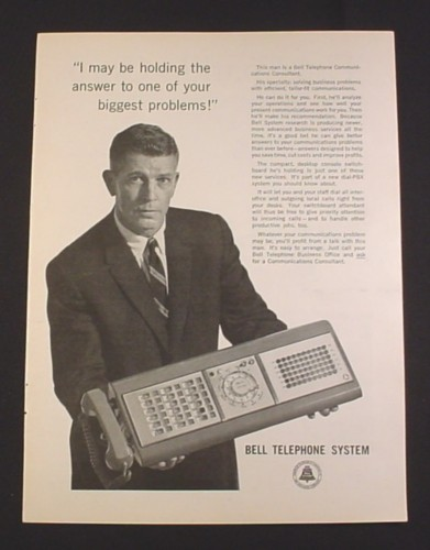 Magazine Ad for Bell Telephone System Desktop Console, 1962