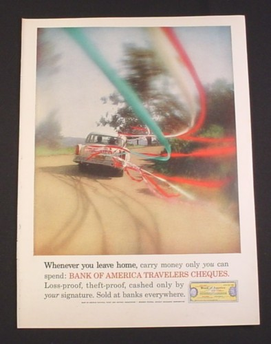 Magazine Ad for Bank of America Travelers Cheques, Just Married Car