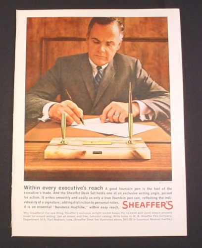 """Magazine Ad for Sheaffer Desk Set, """"Within Every Executive's Reach"""""""
