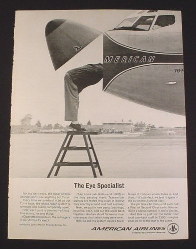 magazine ad for american airlines 1963 open nose of 707