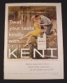 Magazine Ad for Kent King Size Cigarettes, 1962, Woman at Waterfall