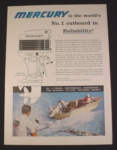 Magazine Ad for Mercury Outboard Motor, 1960, Merc 400 45 H.P.