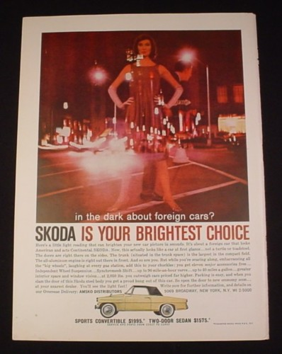 Magazine Ad for Skoda Car, 1960, Sports Convertible