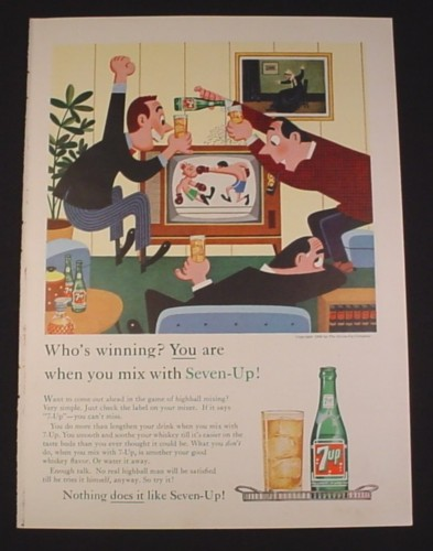 Magazine Ad for 7UP Seven-Up, 1962, Boxing Match on TV