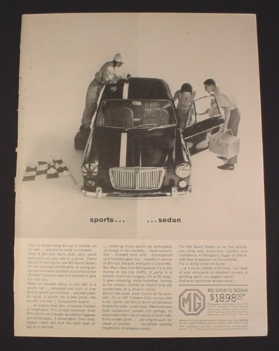 "Magazine Ad for MG Sports Sedan Car, 1963, racing Stripe, 8 1/4"" by 11 1/8"""
